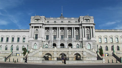 A view of the front of the Library of Congress in Washington, DC Live Action