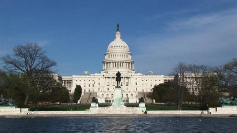Camera zooming across the Reflecting Pool and focusing on... Stock Video Footage
