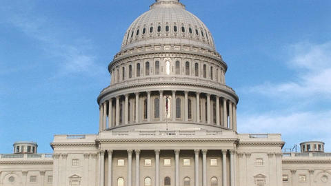 The camera pans up the U.S. Capitol building in... Stock Video Footage