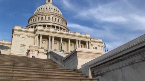 Looking up steps of the landmark U.S. Capitol building in Washington, DC Footage