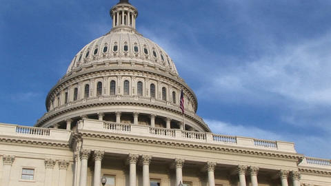 Camera pans up from steps of U.S. Capitol building in... Stock Video Footage