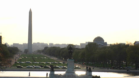 A long-shot of the Washington Mall with cars parked along... Stock Video Footage