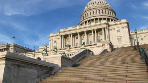 Looking up the steps of the U.S. Capitol building in... Stock Video Footage