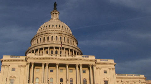 Looking up from the base of the U.S. Capitol building to upper-level balcony just below the dome Footage