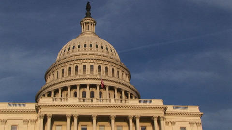 Looking up from the base of the U.S. Capitol building to... Stock Video Footage