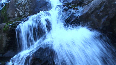 A mountain stream cascades over rocks Stock Video Footage