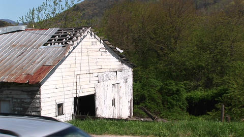 Close-up of an old white barn Stock Video Footage