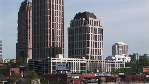 Pan-up to one of Atlanta's tallest buildings Stock Video Footage