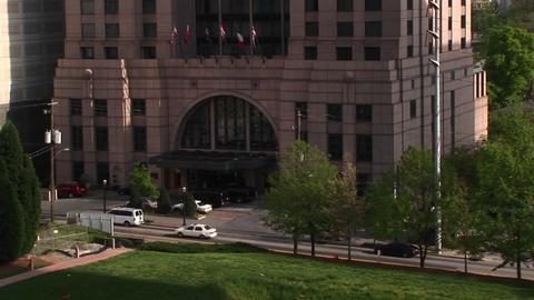 Camera pans-up of a tall skyscraper in Atlanta, Georgia Stock Video Footage