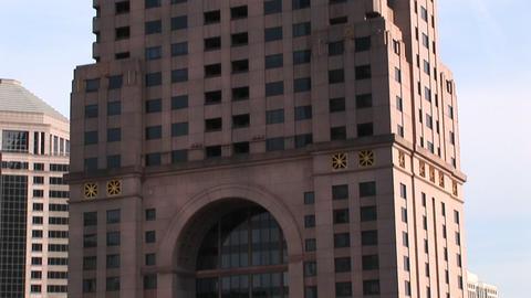 Camera pans-up of a tall skyscraper in Atlanta, Georgia Footage