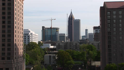 Medium shot of construction equipment in downtown Atlanta Stock Video Footage