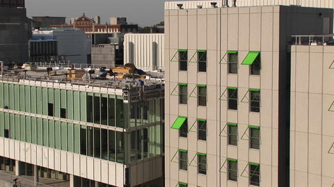 Zoom-in to a green awning on a tall building in Atlanta,... Stock Video Footage