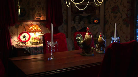 Antiques and collectibles furnish this dining room and... Stock Video Footage