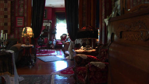 Victorian antiques and furnishings abound inside a richly... Stock Video Footage