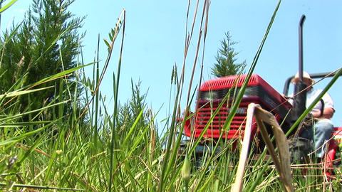 A worms-eye view of a grassy field as a red mower passes by Footage
