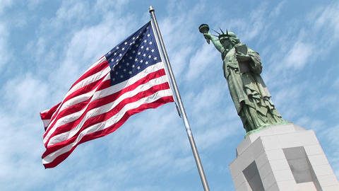 The Statue of Liberty stands majestically on her pedestal... Stock Video Footage