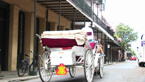 A horse drawn carriage makes its way past the camera and... Stock Video Footage