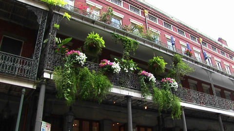 Beautiful flowers adorn a balcony in New Orleans's French... Stock Video Footage