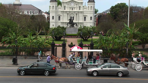 Horse drawn carts and traffic pass by Jackson Square in... Stock Video Footage