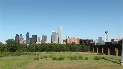 Long-shot of the Dallas city skyline Footage
