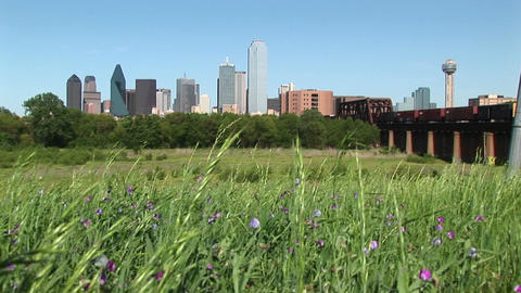 Long shot of the Dallas, Texas city skyline Footage