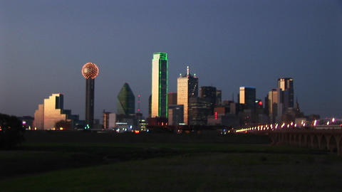 Skyscrapers highlight the downtown Dallas, TX skyline Stock Video Footage