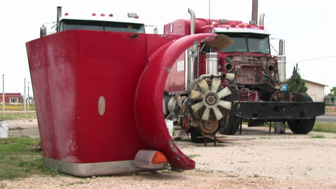 Medium-shot of semi-truck parts Stock Video Footage