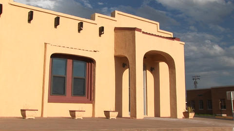 Medium-shot of the entrance to an Adobe building Stock Video Footage