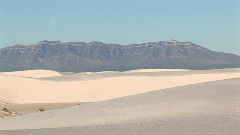 Long-shot of mountains and sand dunes at White Sands... Stock Video Footage