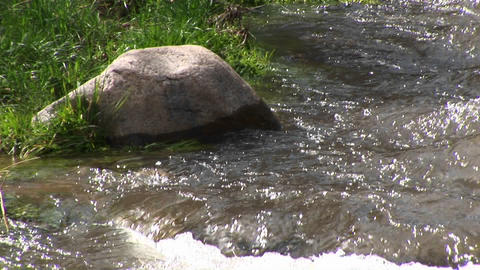 Medium shot of a rock on the bank of a flowing mountain stream Footage