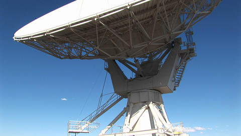 Pan-up of a satellite-dish at the National Radio Astronomy Observatory in New Mexico Footage