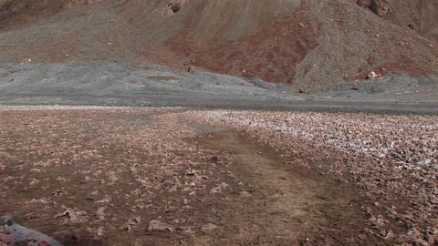 Pan-up of barren desert hills in Death Valley National Park Footage