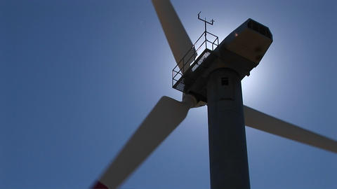Close-up of the rotor, nacelle and tower of a wind turbine at Tehachapi, California Footage