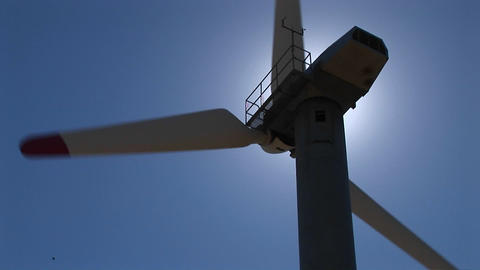 Close-up of the rotor, nacelle and tower of a wind... Stock Video Footage
