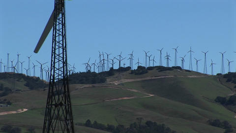 Close-up of one wind turbine on a wind farm at Tehachapi,... Stock Video Footage