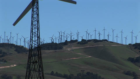 Close-up Of One Wind Turbine On A Wind Farm At Tehachapi, California stock footage