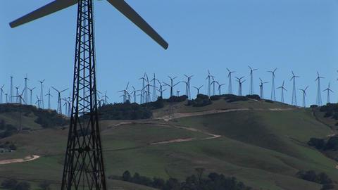 Close-up of one wind turbine on a wind farm at Tehachapi,... Stock Video Footage