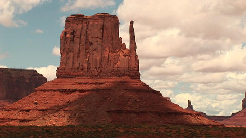 Medium-shot of the Mittens formation at Monument Valley... Stock Video Footage