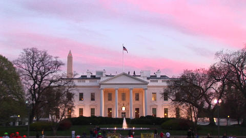 Medium shot of people walking by the White House at... Stock Video Footage