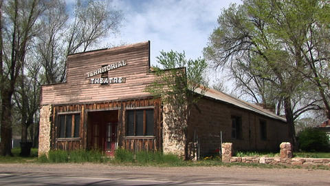 Medium shot of an old-west style Territorial Theater Stock Video Footage