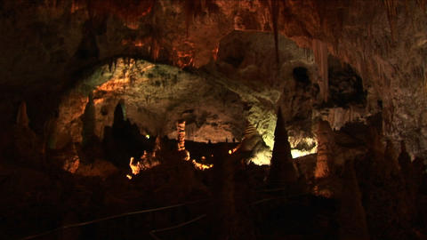 Medium shot of the inside of a cave at Carlsbad Caverns... Stock Video Footage