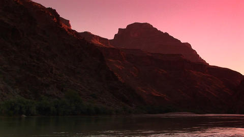 Long shot of the Colorado River flowing through the Grand Canyon Footage