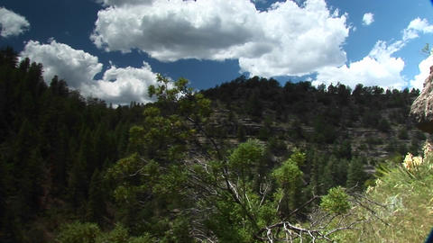 Pan-right shot of Walnut Canyon National Monument in Arizona Footage
