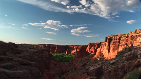 Long shot of Canyon De Chelly National Monument in Arizona Footage