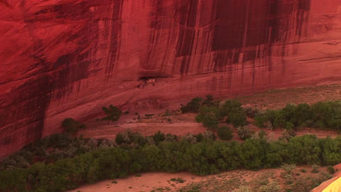 A zoom into an American Indian dwelling on a cliff Footage
