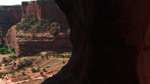 Pan-left shot of Canyon De Chelly in Arizona Stock Video Footage