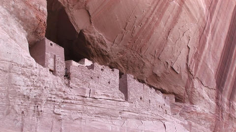 An American Indian dwelling on a cliff face Footage
