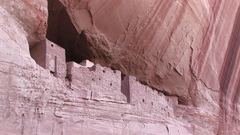 An American Indian dwelling on a cliff face Stock Video Footage