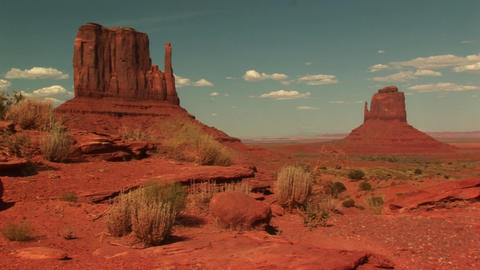 Long shot of sandstone formations in Monument Valley Tribal Park Footage