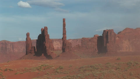 Long shot of the Totem Pole rock formations in Monument Valley Tribal Park in Arizona Footage